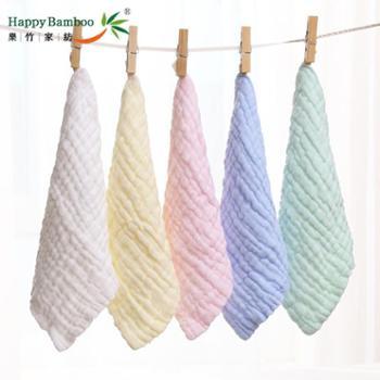 乐竹5条装泡泡纱方巾6层纱布水洗棉方巾