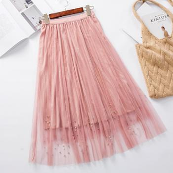 亲春百褶裙半身裙新款时尚半身珍珠网纱裙中长裙B333