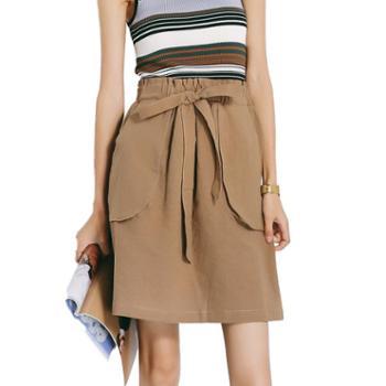 gangsta2019夏款显瘦棉麻立体剪裁系带纯色短裙半身裙M327