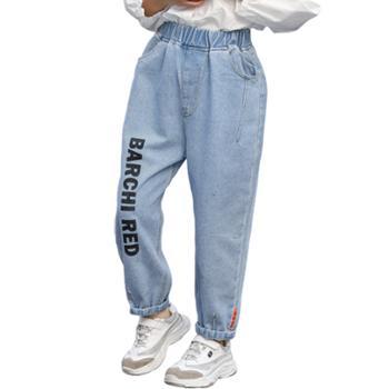亲春女童牛仔裤子韩版童裤中大童休闲裤儿童外穿运动长裤AX1102