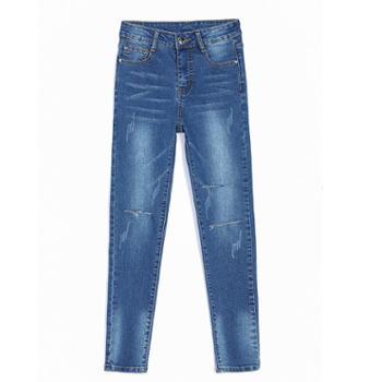 sandalling 修身显瘦小脚裤破洞高腰铅笔裤1629 修身