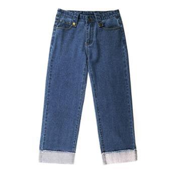 sandalling直筒女卷边九分宽松显瘦百搭牛仔裤1991直筒