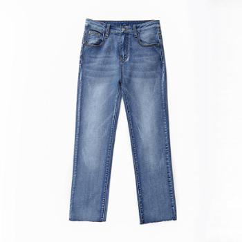 sandalling实拍chic高腰牛仔显瘦直筒裤1995直筒