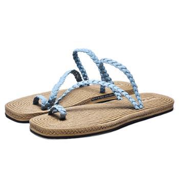 上匠风华 超纤编织橡胶底女子拖鞋20519