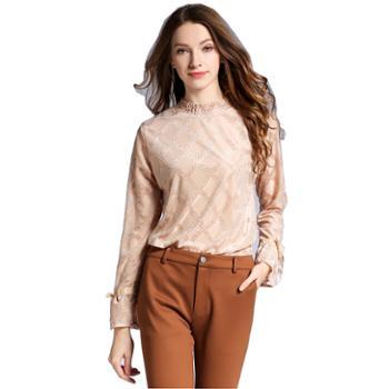 sandalling蕾丝长袖镂空上衣6157100%聚酯纤维
