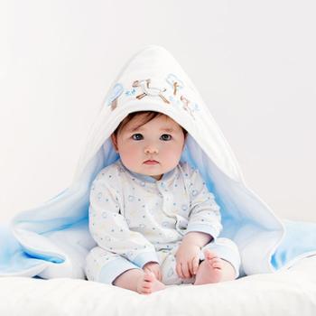 全棉时代婴儿抱被针织棉纱新生儿初生婴儿包被宝宝纯棉秋冬抱被