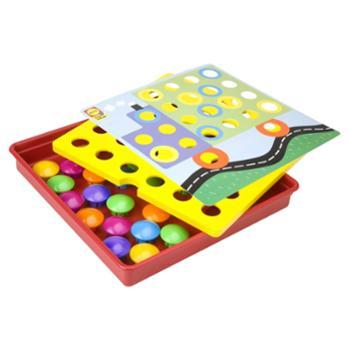 美国 儿童纽扣拼图拼装大蘑菇钉益智动手玩具宝宝礼物2-3-5