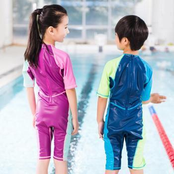 Decathlon/迪卡侬 迪卡侬男童女孩儿童女泳衣游泳温泉连体泳衣保暖遮阳NAB E