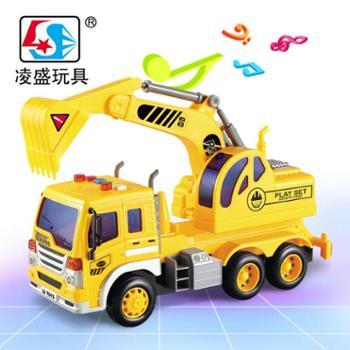 凌盛玩具 遥控工程车挖掘机挖土车搅拌水泥车翻斗运输车充电动儿童玩具汽车