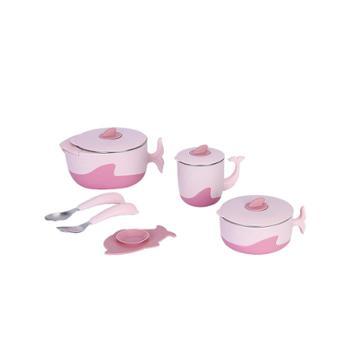 利鲁奇 宝宝辅食碗勺套装婴儿吸盘注水保温碗便携儿童餐具吃饭防烫防摔碗