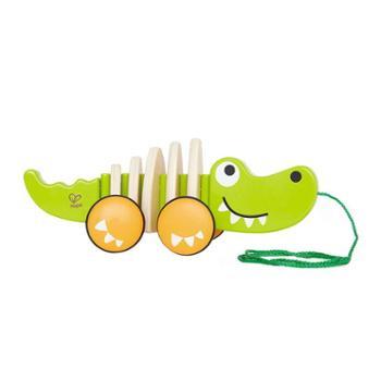 Hape拖拉鳄鱼全身会摇摆儿童宝宝木制学步手拉益智玩具