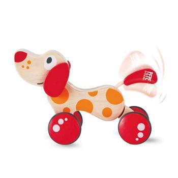 Hape拖拉狗百*型儿童益智玩具宝宝木制创意学步手拉小狗