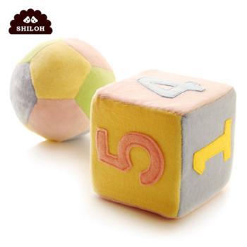 SHILOH 骰子球球婴幼儿手抓摇铃宝宝认知数字毛绒布艺几何玩具