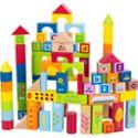 实木制大颗粒积木儿童益智玩具桶装