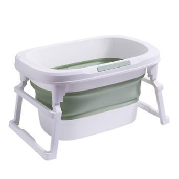 米蓝猫宝宝折叠浴盆婴儿洗澡盆儿童浴桶新生游泳用品大号家用可坐