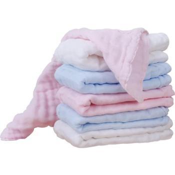 植护婴儿纯棉纱布毛巾口水巾6条装