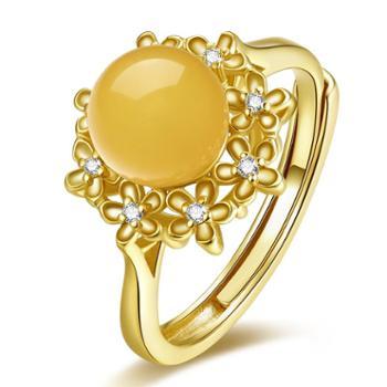 仙蒂瑞拉华丽S925银镶琥珀蜜蜡开口戒指(附证书)