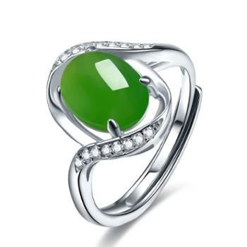 仙蒂瑞拉心悦S925银镶细腻天然和田玉戒指活口设计