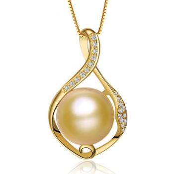 仙蒂瑞拉SANDYRILLA10-12mm南洋金珍珠18K金钻石吊坠-婉莹