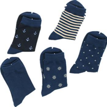 哈伊费舍全棉海军风款男袜子 5双装