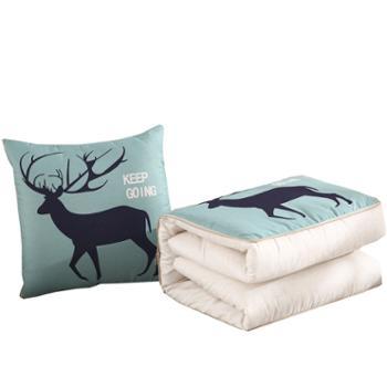 伊伊爱时尚北欧亚麻风印花抱枕被靠垫午睡空调被