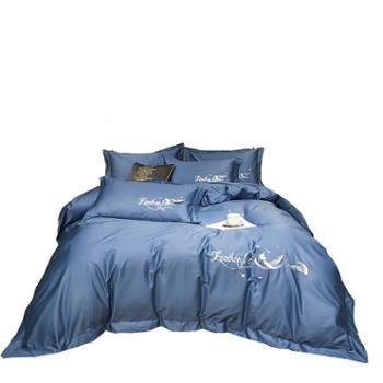 伊伊爱60支长绒棉刺绣四件套床上用品套件