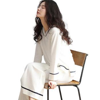 妮狄娅条纹女士睡衣纯棉长袖家居服和服白色阔腿裤居家服套装ZF73168