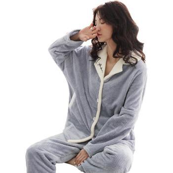 妮狄娅女士睡衣冬家居服珊瑚绒法兰绒长袖格子开衫翻领宽松休闲居家服套装GF94452