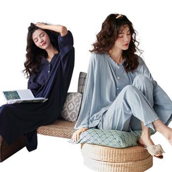 妮狄娅/NIDIYA棉质睡裙和套装简约条纹纯色外穿XF93221+XF93218
