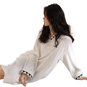 妮狄娅/NIDIYA 时尚私房绣花睡裙 条纹纯棉长袖 XF21137