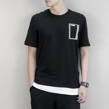 Puma彪马男装短袖运动透气串标假两件半袖T恤853172-01