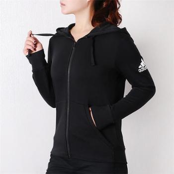 adidas阿迪达斯女子防风连帽针织运动夹克外套S97085