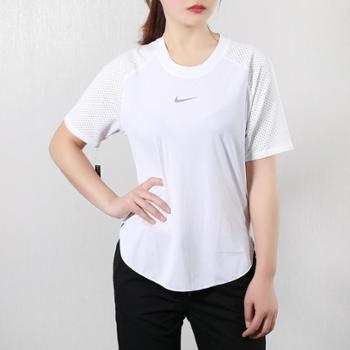 Nike耐克女夏季跑步训练运动休闲短袖T恤AQ5168-100-010