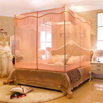 蚊帐三开门拉链坐床式方顶加高加密蚊帐不锈钢蚊帐床幔新
