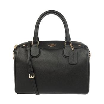 COACH蔻驰女士纯色单肩手提包32202小号(黑色)
