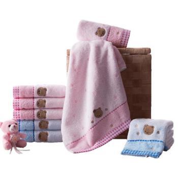 金号 纯棉毛巾 吸水卡通可爱面巾3166WH (三条装)