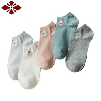 俞兆林5双装女士棉质船袜均码