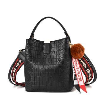 帕拉朵新款潮水桶包鳄鱼纹手提包港风单肩斜挎包女包包