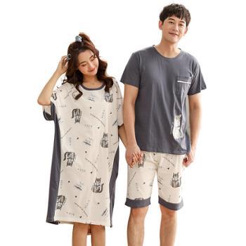菲蜜莉睡衣女男士纯棉短袖性感睡裙家居服套装