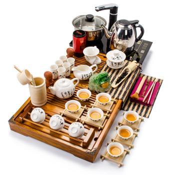 聚森 整套实木茶盘茶具套装带电磁炉