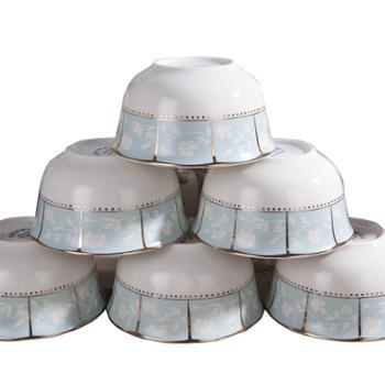 竹林间骨瓷56头小时代碗盘餐具套装
