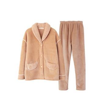 浅休 女士简约时尚翻领加厚贝贝绒睡衣套装 保暖