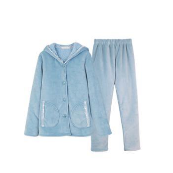 浅休 女款贝贝绒长袖两件套睡衣套装 保暖