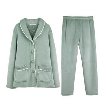 浅休 女士加厚加绒开衫家居服睡衣套装 保暖