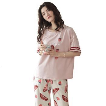 青年里 可爱草莓七分裤短袖睡衣两件套 全棉