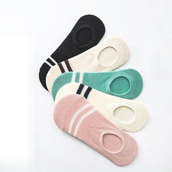 俞兆林 女士隐形两杠条纹小清新船袜混色5双装 棉