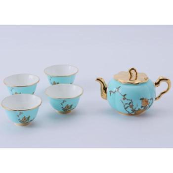 金和汇景·夫人瓷西湖蓝6头功夫茶具