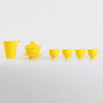 金和汇景-高温颜色釉明黄六头茶具