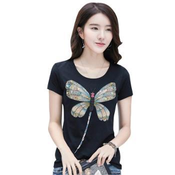 KEQI手工钉珠大蜻蜓T恤3207