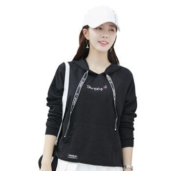 KEQI竹节棉绣花百搭卫衣2136-1